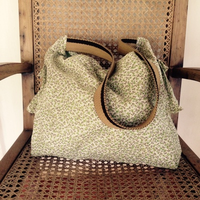 Safari bag - Green flowers cotton